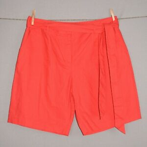 BODEN $70 Cora Pleated Linen Shorts in Sunset w/ Tie Sash UK 14 / US 10