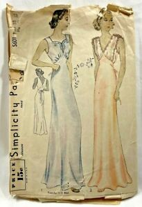 1930s Antq Simplicity Sewing Pattern S601 Womens Nightgown 2 Styles 38 Bust 8883