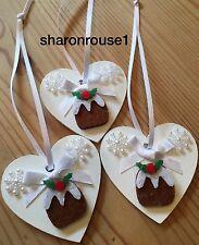 3 X Christmas Decorations Christmas Pudding Real Wood Heart Handmade White
