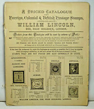 1885 William Lincoln Catalogue Foreign Colonial & British Postage Stamps w Maps