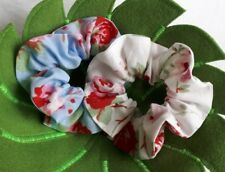 2 Pack Cath Kidston Rosali White/Blue Hair Bands Scrunchie Ponytail Holder