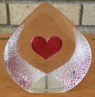 """MATS JONASSON MALERAS ETCHED RED HEART ART GLASS PAPERWEIGHT SWEDEN 3773 2 7/8"""""""
