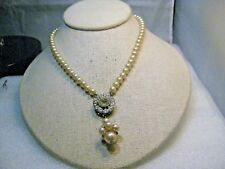 "Vintage Faux Pearl Lavalier Necklace, 5.5mm pearls, removable Drop, 15.5"", 1940s"