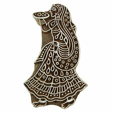 Indian Decorative Wood Hand Carved Women Stamps Wooden Stamp Printing Block