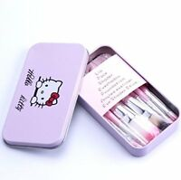 7 mini pink make up brushes Kitty cartoon makeup brushes set FREE metal gift box