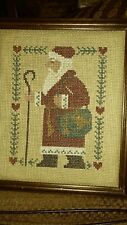 Vintage Finished / Completed Handmade Cross Stitch Santa In His Red Coat 1987.