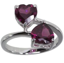 Rhodolite Garnet Gemstone Twin Heart Wrap Sterling Silver Ring size L