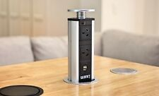 MPS V1 Silver Pop Up Power Point Socket w USB Charger for Home Office Kitchen