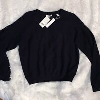 Vince Ribbed Sweater Medium Boatneck Pullover Waffle Cotton LARGE Navy Blue NWT