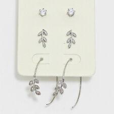3 Pair Leaf CZ Silver Tone Stud and Threader Hoop Earrings Set