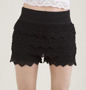 Junior's Crochet Tiered Lace Short Skirt Pants shorts Cotton Super Cute shorts