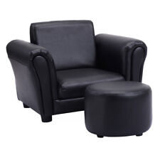 2 PCS Kids Sofa Armrest Chair Couch Children Toddler Girls Gift w/ Ottoman Black