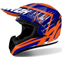 CASCO MOTO CROSS ENDURO AIROH SWITCH STARTRUCK BLU ARANCIO ORANGE FLUO TG XL