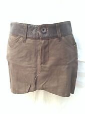 JUNE Brown Leather Silk Lined Mini Shapy Skirt Size 4 New without Tags