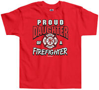 Threadrock Girls Proud Daughter of a Firefighter Toddler T-shirt Dad Fireman