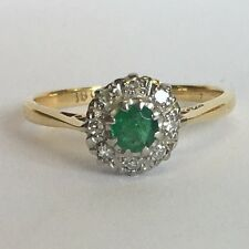 Vintage Solid 18ct Yellow Gold Diamond & Emerald Engagement / Dress Ring Size L