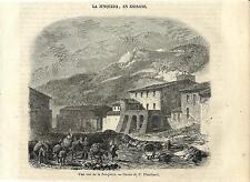 Stampa antica LA JONQUERA Catalogna Spagna 1852 Grabado Antiguo Old Print