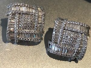 18k White Gold GF Luxury Square Earrings Created Diamond Baguette Stone Gorgeous