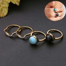 Bohemian Fashion Punk Women Finger Ring Charm Gem Rings Gift 4PCS/Set