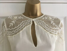 BNWT LIPSY Cream Beaded Embellished Chiffon Blouse Top Fluted Sleeves Size 12