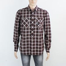 NEW Duck & Cover Mens Size M L Burgundy Check Long Sleeve Shirt