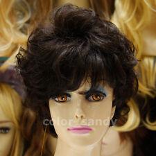 100% Echthaarperücke Kurzhaar Gewellt Volle Perücke Human Hair Wig Dunkelbraun