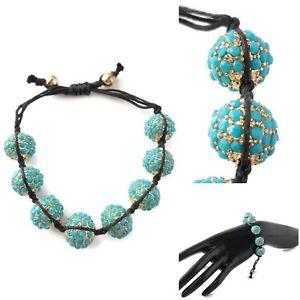 Aqua Turquoise Blue Gold Nugget Shamballa Inspired Bracelet Black Cord