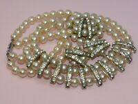 Rare vintage faux pearl necklace brooch and earrings set