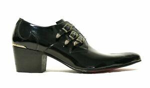 Jeffery-West VEGAN MUSE Sylvian 'FADE' Triple Buckle Shoe in Black Patent effect