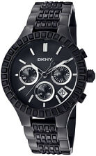 DKNY NY8316 LADIES BLACK BAGUETTE CRYSTAL GLITZ STEEL BRACELET CHRONOGRAPH WATCH