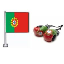 PORTUGAL CAR FLAG & MINI BOXING GLOVES 2018 WORLD CUP SHIPS FROM CANADA