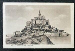 Mont St Michel Cote Sud France Postcard Railway line Vintage Cars