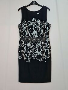 Joseph Ribkoff 193785 knee length sleeveless shift black/silver uk14 REDUCED!