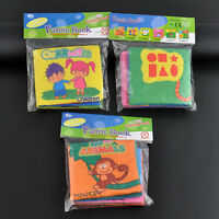 3x Soft Fabric Baby Children Intelligence Development Squeaky Picture Cloth Book