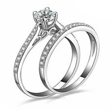 Silver Plated Cubic Zirconia Solitaire Stacked Engagement Wedding Ring Rings