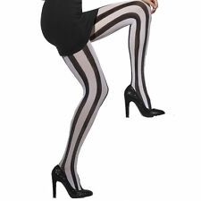 e23f3e839b84a Black and White Striped Opaque Tights Fancy Dress Accessories Ladies One  Size