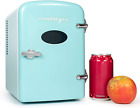 Retro 6 Can Personal Cooling And Heating Mini Refrigerator With Carry Handle  photo