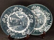 "Set Of 2 Royal Tudor Coaching Taverns Teal Green Blue Dinner Plates 10"" England"