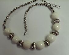 """NATURAL TRIDACNA SHELL 18KT WHITE GOLD PLATED 20-22"""" IN STYLE NECKLACE..GROOVY!"""
