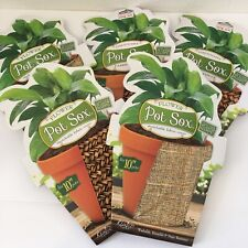 """New Pot Sox Flower Stretch Fabric Covers Basket 10"""" pots Reusable Lot Of 5 Brown"""