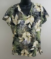 Caribbean Joe Blouse Womens Size L Hawaiian Palm V Neck Ruched Stretch Top