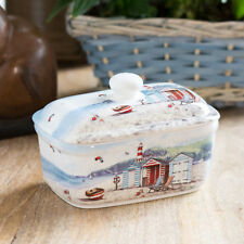 Butter Dish with Lid Ceramic Serving Bowl Dining Table Nautical Seaside Beach