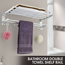 Bathroom Towel Rack Holder Wall Mounted Rail Bar Toilet Shower Organizer 5 Hooks