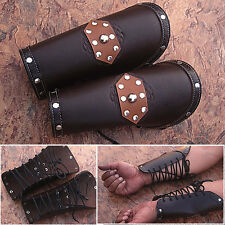 Skyrim Imperial Dark Leather Bracers Armor Brown Arm Cuffs Pair Elder Scrolls