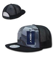 DECKY Camouflage FLAT Bill Trucker Hat 6 Panel Mesh Snapback Hats Camo Army Cap