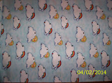 Light Blue Noah's Ark Sunny Clouds & Rainbows 100% cotton fabric by the 1/2 yard