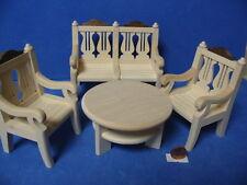 Nr.81 Puppenstube Bank - Sessel - Tisch 1:10 Puppenhaus Puppenmöbel Puppenzimmer