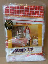 "Vintage 1980 Franco Round Up Collection 60"" BBQ Vinyl Round Tablecloth Fringe"