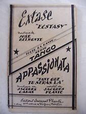 Partition Extase José Belmonte Appassionata Jacques Cahan Tango
