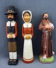 OLD ENGLISH Puritan Man and Wife and Monk Candle Holder Figurines Figure